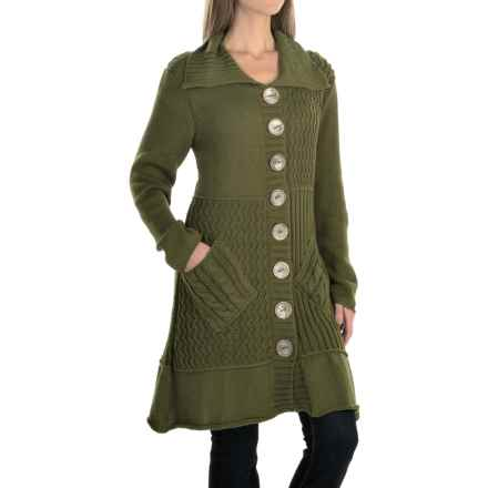 Pure Handknit Patchwork Cardigan Jacket - Cotton (For Women) in Earthly Green - Closeouts