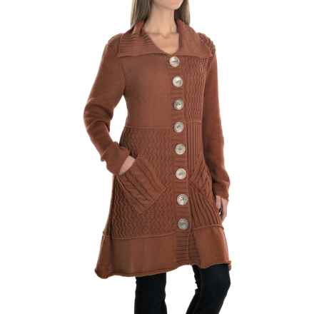 Pure Handknit Patchwork Cardigan Jacket - Cotton (For Women) in Modern Twig - Closeouts