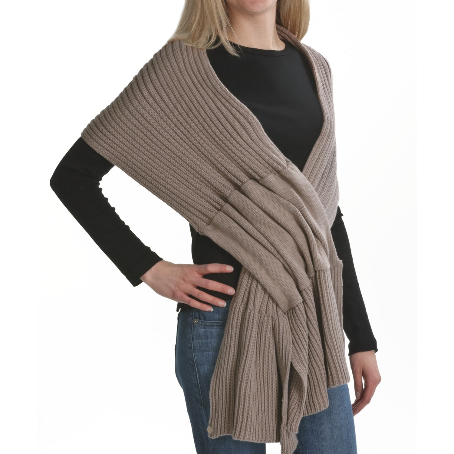 Pure Handknit Pull-Through Ribbed Scarf (For Women) - Save 75%