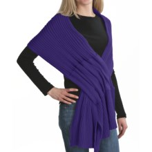Pure Handknit Pull-Through Ribbed Scarf (For Women) in Beautiful Periwinkle - Closeouts