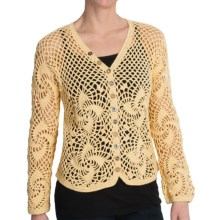 Pure Handknit Resort Crochet Cardigan Sweater (For Women) in Mellow Yellow - Closeouts