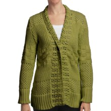 Pure Handknit Sarabrui Textured Knit Cardigan Sweater (For Women) in Green Canyon - Closeouts