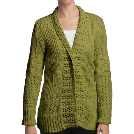 Pure Handknit Sarabrui Textured Knit Cardigan Sweater (For Women) in Green Canyon