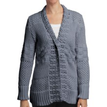 Pure Handknit Sarabrui Textured Knit Cardigan Sweater (For Women) in Smoke Blue - Closeouts