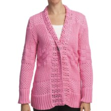 Pure Handknit Sarabrui Textured Knit Cardigan Sweater (For Women) in Sweet Pea Pink - Closeouts