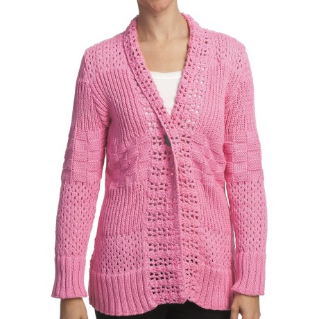 Pure Handknit Sarabrui Textured Knit Cardigan Sweater (For Women) in Sweet Pea Pink