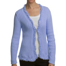 Pure Handknit Satun Looped Trim Cardigan Sweater (For Women) in Come Sail Away Lt Blue - Closeouts