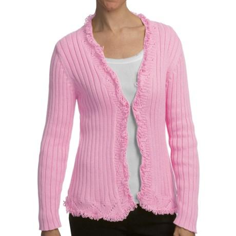 Pure Handknit Satun Looped Trim Cardigan Sweater (For Women) in Peggy Sue Blush