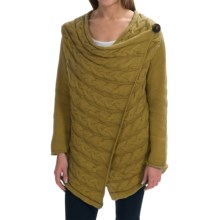 Pure Handknit Spirit Cable Cardigan Sweater (For Women) in 288 Tea Leaf - Closeouts