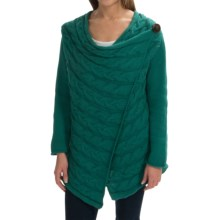 Pure Handknit Spirit Cable Cardigan Sweater (For Women) in Luxe Emerald - Closeouts