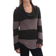 Pure Handknit Statement Sweater - Cowl Neck (For Women) in Dark Grey - Closeouts