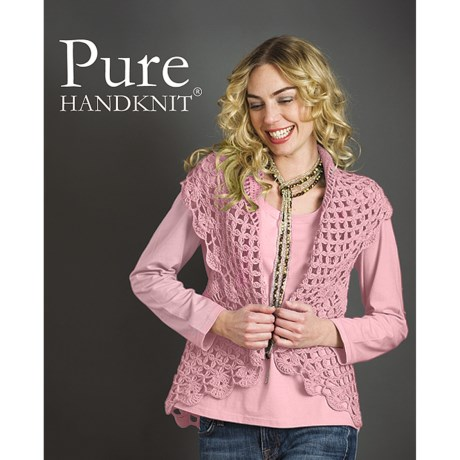 Pure Handknit Stella Cocoon Cable Sweater Vest (For Women) in Spring Fling Pink