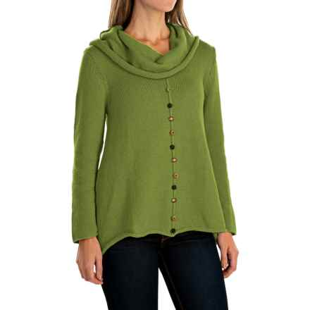 Pure Handknit Sweetheart Swing Pullover Sweater - Cowl Neck (For Women) in Chic Green - Closeouts