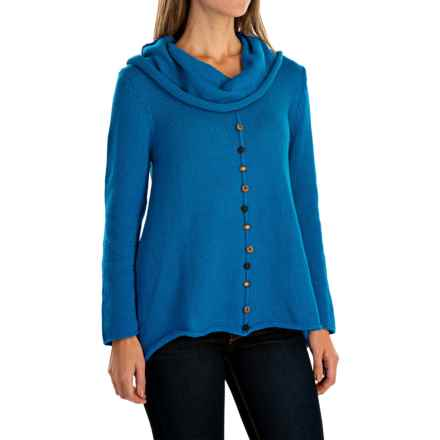 Pure Handknit Sweetheart Swing Sweater - Cowl Neck (For Women) in Electric Blue - Closeouts
