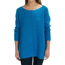 Pure Handknit Urban Boat Neck Sweater (For Women) in Blue - Closeouts