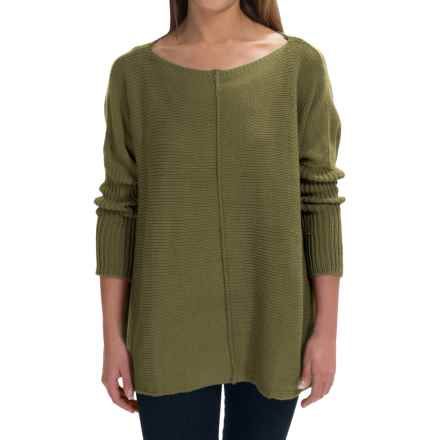 Pure Handknit Urban Boat Neck Sweater (For Women) in Earthly Green - Closeouts