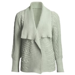 Pure Handknit Vermont Cardigan Sweater - Double-Knit Cotton, Shawl Collar (For Women) in Seltzer