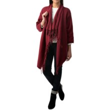 Pure Handknit Weekend Cotton Cardigan Sweater - 3/4 Sleeve (For Women) in Wine - Closeouts