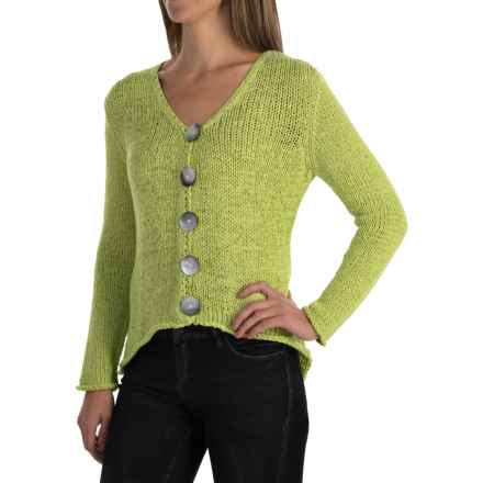 Pure Handknit West High-Low Cardigan Sweater (For Women) in Future Lime - Closeouts