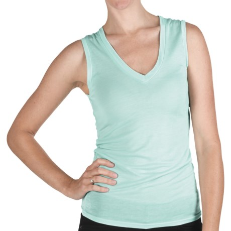Pure Modal V-Neck Tank Top (For Women) in Aqua