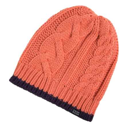 PWDR Room Cable-Knit Tipped Beanie (For Men and Women) in Melon/Black Orchid - Closeouts