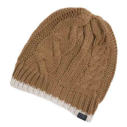 PWDR Room Cable-Knit Tipped Beanie (For Men and Women) in Tobacco/Cream - Closeouts