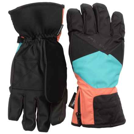 PWDR Room Slimline Thinsulate® Gloves - Waterproof, Insulated (For Women) in Blue Mist/Black/Melon - Closeouts