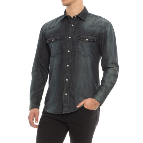 Q by Flynt Autry Shirt - Snap Front, Long Sleeve (For Men) in Indigo