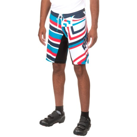 Qloom Jaws Mountain Bike Shorts - Built-In Brief (For Men) in White/Black Iris