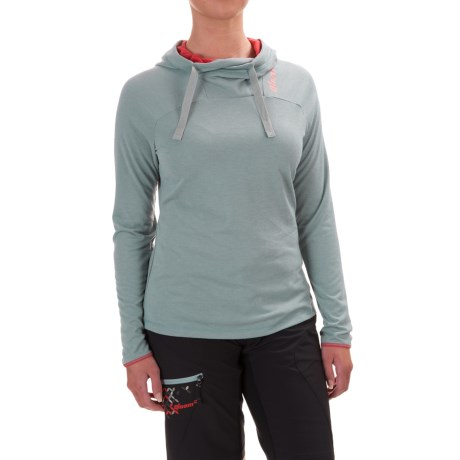 Qloom Mandalay Hooded Shirt - Long Sleeve (For Women) in Silver Blue
