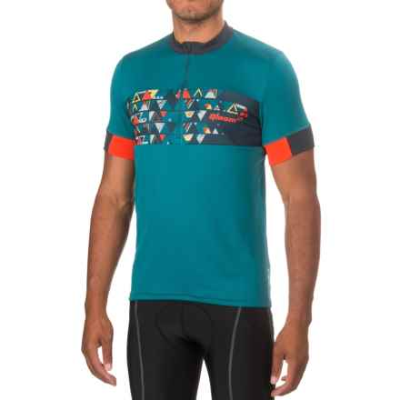 Qloom Mornington Cycling Jersey - Zip Neck, Short Sleeve (For Men) in Ink Blue - Closeouts