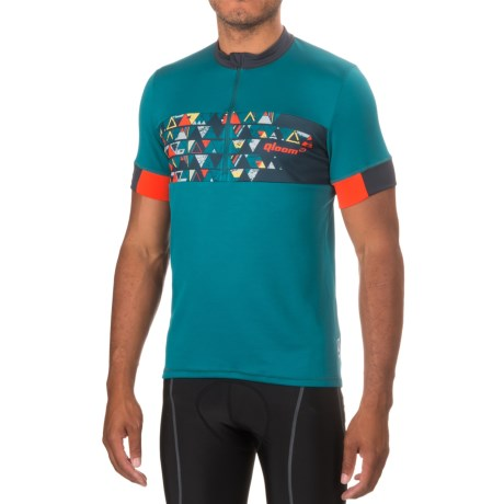 Qloom Mornington Cycling Jersey - Zip Neck, Short Sleeve (For Men) in Ink Blue