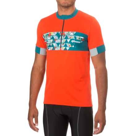 Qloom Mornington Cycling Jersey - Zip Neck, Short Sleeve (For Men) in Red - Closeouts