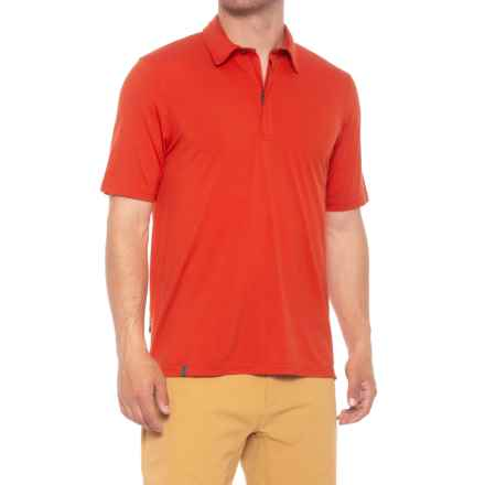 QOR 17.5 Polo Shirt - Merino Wool, Zip Neck, Short Sleeve (For Men) in Tomato Red - Closeouts