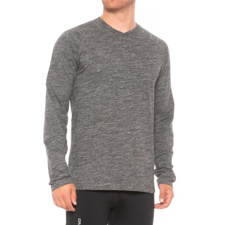 QOR Cotton Base Layer T-Shirt - Long Sleeve (For Men) in Charcoal Heather