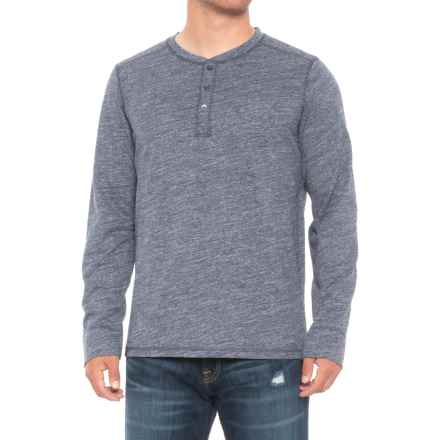 QOR Cotton Henley Shirt - Long Sleeve (For Men) in Navy Heather - Closeouts