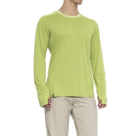 QOR Polartec® Power Dry® Crew T-Shirt - Long Sleeve (For Men) in Green Glow Heather