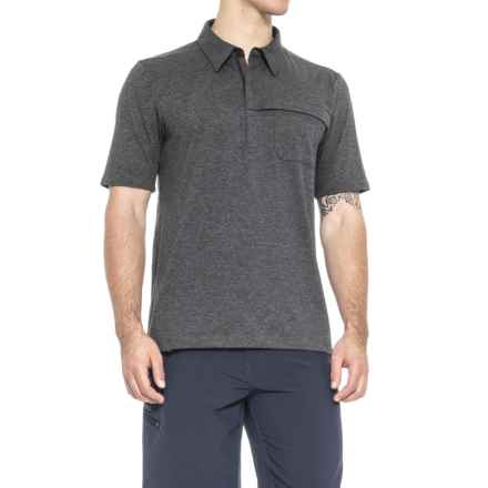QOR Tec Stretch Polo Shirt - Zip Neck, Short Sleeve (For Men) in Charcoal Heather - Closeouts