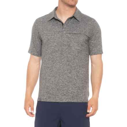 QOR Tec Stretch Polo Shirt - Zip Neck, Short Sleeve (For Men) in Grey Heather - Closeouts