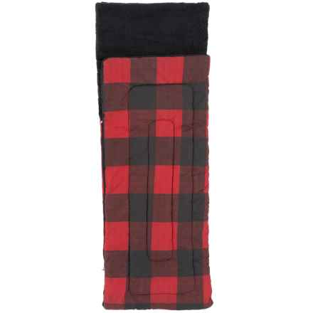 Queenwest Trading Co. Gingham Flannel Sleeping Bag - Fleece Lined (For Kids) in Red/Charcoal - Closeouts
