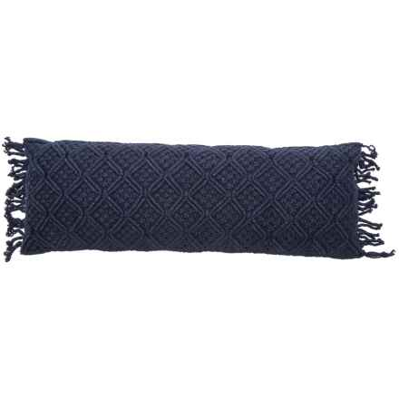 "Queenwest Trading Co. Macrame Decor Pillow with Fringe - 12x34"" in Navy - Closeouts"