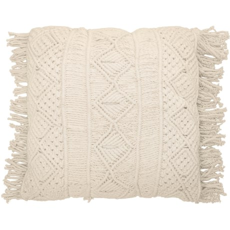 """Queenwest Trading Co. Macrame Decor Pillow with Fringe - 23x23"""" in Ivory"""