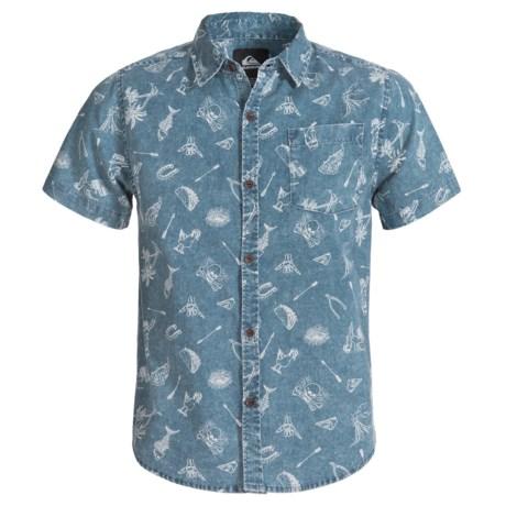 Quiksilver Button-Front Chambray Shirt - Short Sleeve (For Big Boys) in Dark Denim