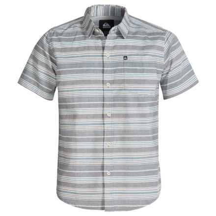Quiksilver Button-Front Chambray Shirt - Short Sleeve (For Big Boys) in Dark Shadow - Closeouts