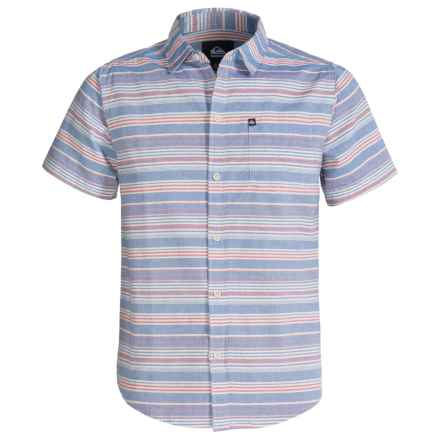 Quiksilver Button-Front Chambray Shirt - Short Sleeve (For Big Boys) in Turkish Sea - Closeouts