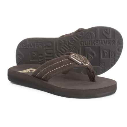 Quiksilver Carver Flip-Flops - Suede (For Boys) in Brown - Closeouts