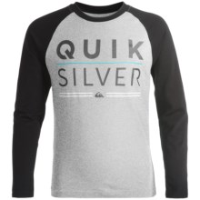 Quiksilver Graphic T-Shirt - Long Sleeve (For Big Boys) in Grey Heather Quick Silver - Closeouts