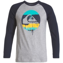 Quiksilver Graphic T-Shirt - Long Sleeve (For Big Boys) in Grey Heather - Closeouts