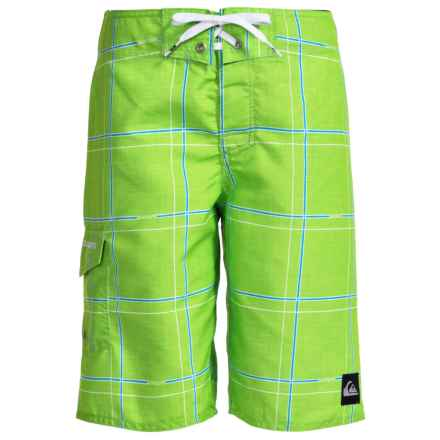 Quiksilver Grid Boardshorts (For Little and Big Boys) in Green Gecko - Closeouts