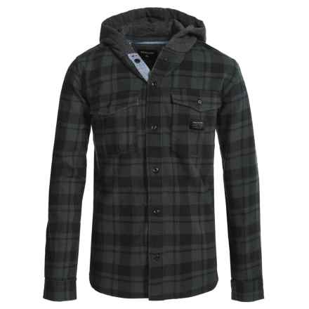 Quiksilver Hooded Flannel Shirt - Long Sleeve (For Big Boys) in Black - Closeouts